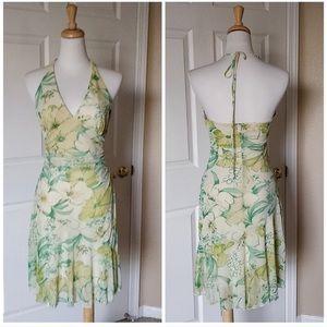 Flower print halter dress